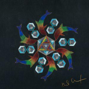 Rainbow Healing Dolphins Mandala by Gail Alexander